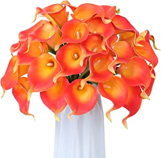 30 Pcs Calla Lily Artificial Flowers, FENGRUIL 14'' Latex Real Touch Bridal Flowers Bouquet for Home Office Party Wedding Festival Table Centerpiece Decoration (Sunset)