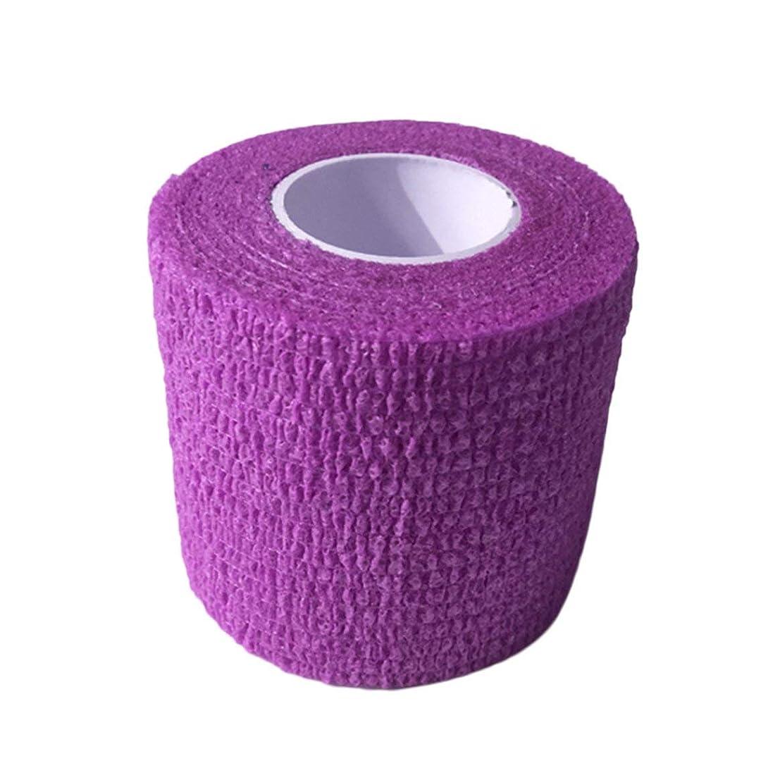 どこか繰り返しデータベースタトゥーマシンハンドルタトゥーアクセサリー(紫)の使い捨てタトゥーグリップカバーラップ自己接着弾性包帯