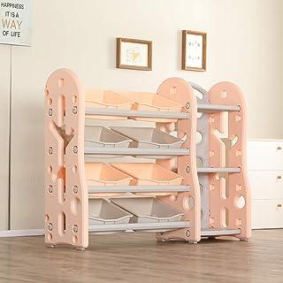 Urbancart Kids Multi Storage Toys and Books Organiser/Rack with 8 Storage Bins and 3 Shelf. (Pink)