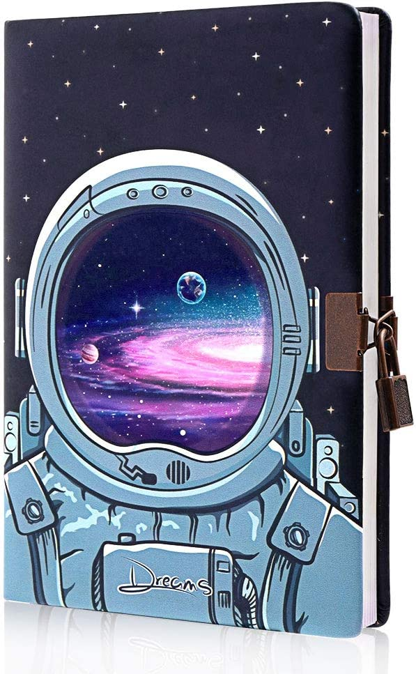 Planet Locking Journal for Boys Kids,Locking Diary with Keys,PU Leather Cover Journal Personal Organizer Exploring Space Diary,8.38in x 5.7in
