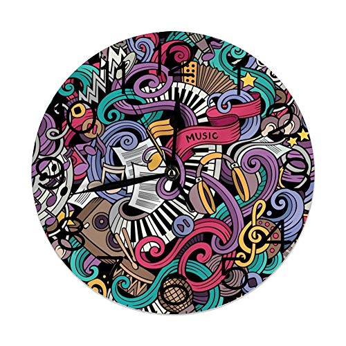 vnsukdlfg Round Wall Clocks Home Decorative,Doodle,Music Themed Hand Drawn Abstract Instruments Microphone Drums Keyboard Stradivarius,Multicolor,Diameter 9.8