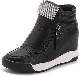 Bonrise Womens Cz High Top Platform Sneakers - Increased Height Hidden Heel Rhinestone Wedge Sports Shoes