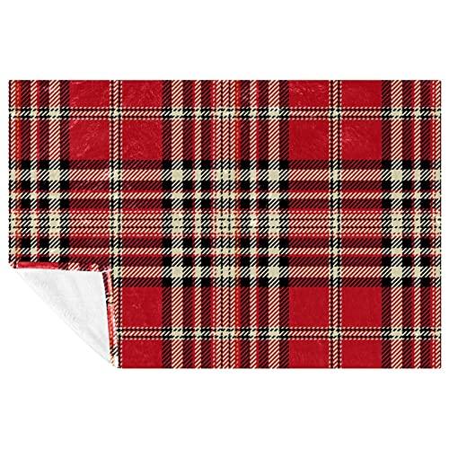 BestIdeas Manta clásica a cuadros de color rojo crema, suave, cálida, acogedora manta para cama, sofá, picnic, camping, playa, 150 x 100 cm