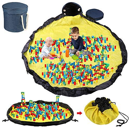 Sylanda Saco de juguetes, bolsa de almacenamiento XL, organizador de bolsillos, alfombra de juguete para niños, saco de limpieza para juguetes, tamaño grande 150 x 150 cm, limpieza más rápida