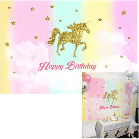 8x6ft Happy 3rd Birthday Backdrops for Picture Cartoon Unicorn Rainbow Photography Background Kids Children Girl Boy Three Bday Party Celebration Baby Shower Customized Vinyl Photo Booth Prop
