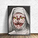 WQHLSH Rebelde Nun Prints and Pósters Abstract Nun Cat Retrato Art Fotos Arte de la Pared Pintura de Lienzo Decoración de la Pared 20x28inchx1 Sin Marco