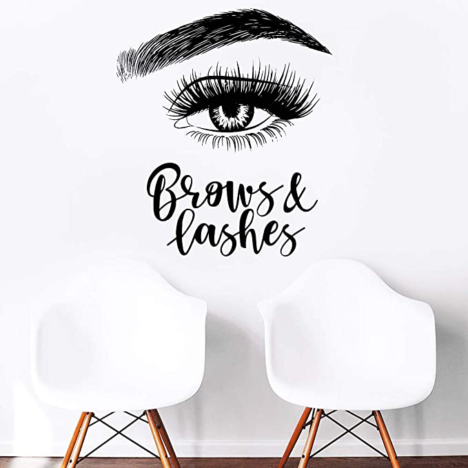 Eyelashes decal,Eyelashes Eye Decal,Eyelashes Eye Sticker,Girls Eyes,Eyebrows Decal,Brow Bar decal,Beauty Salon Decal,Make Up Decal kau394