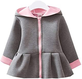 Infant Baby Girl Jacket Long Sleeve Zipper Coat Rabbit Ears Hooded Outerwear Toddler Fall Winter Outfit