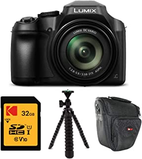 Panasonic DC-FZ80K LUMIX FZ80 18.1MP 4K 60x Long Zoom Digital Camera with Kodak 32GB Card, Holster Bag, and Flexible 12-inch Spider Tripod Bundle (4 Items)