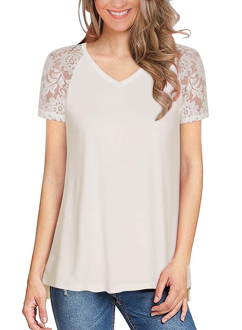 Women's Lace Raglan Short Sleeve Tops Summer Casual V Neck T Shirts Side Slit Tunic Tee