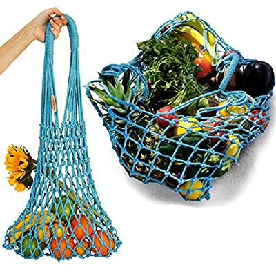 Reusable Grocery Bags | Eco-Friendly Hand Made Bag | 100% Cotton Net Shopping Tote | Mesh String Rope Market Vegetable Fruits Produce Bags | Blue