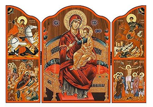 St Joseph's Catholic Giftshop on Amazon Triptych Icono de Madera Griega Nuestro Icono de Madera para Mujer y niño. Icono religioso Hecho a Mano en Grecia