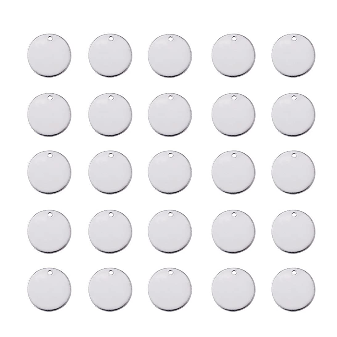 Beadthoven 100pcs 9/16''Inch 304 Stainless Steel Blank Stamping Tag Pendants for Bracelet Earring Pendant Flat Round Charms 15x1mm