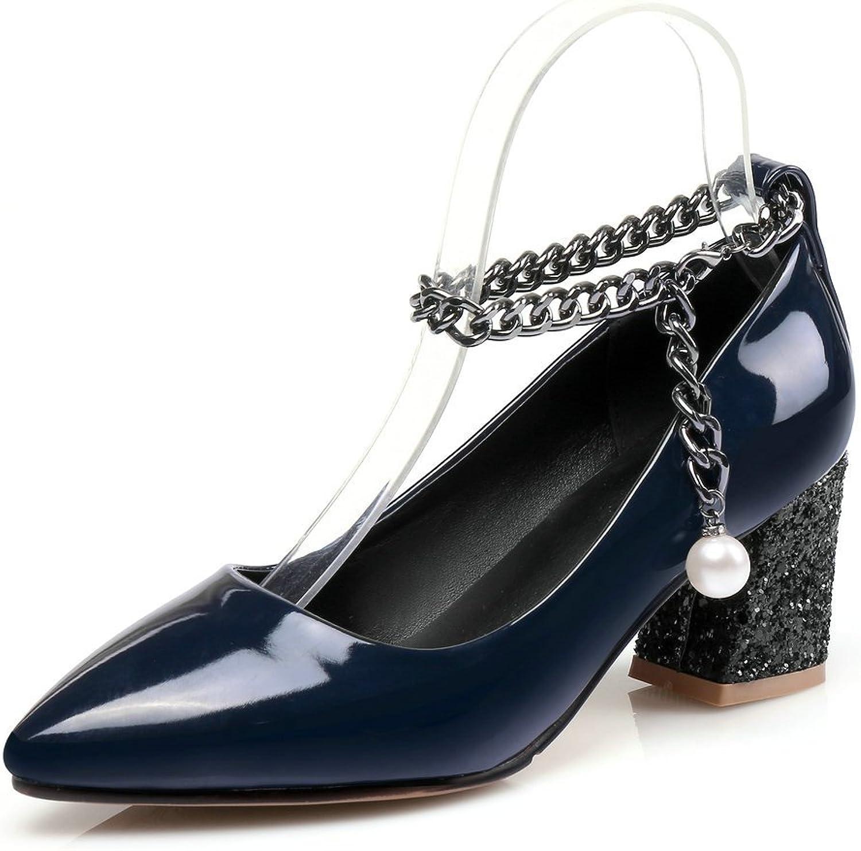 AIWEIYi Women Pumps Glitter Square Med Heel Buckle Strap Platform Dress Mary Janes shoes bluee