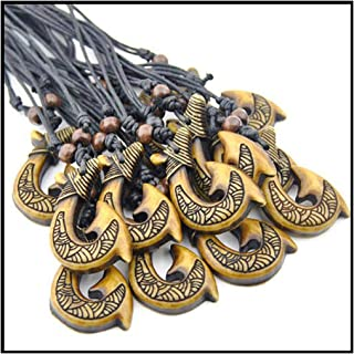 12pcs/lot Tribal Yak Bone Carved New Zealand Maori Matau Fish Hook Pendant Necklace for Men Women's Gift