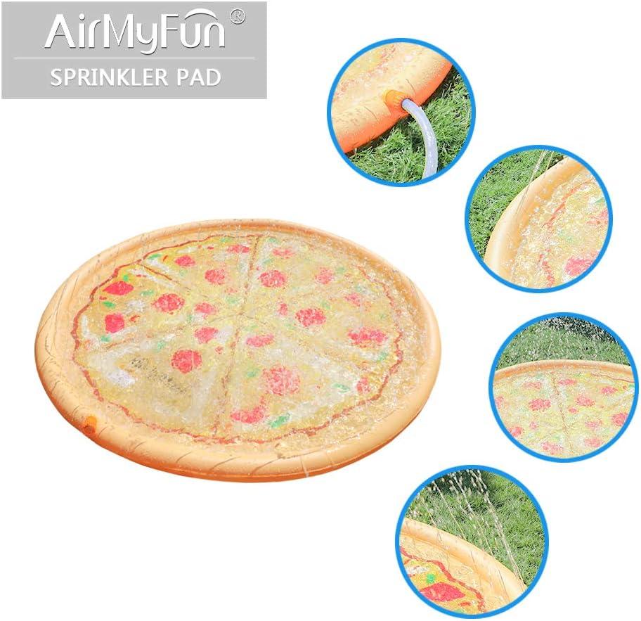 Pizza Design Splash Play Mat Sprinkler Mat for Kids Toddlers Outdoors,Kids Sprinkler /& Splash Pool AirMyFun Sprinkler Pad for Kids Inflatable Sprinkler Water Toys/…