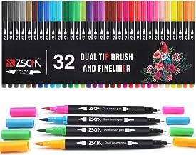 ZSCM 32 Colors Dual Tip Brush Pens Art Markers Set, Artist Art Marker Fine and Brush Tip Colored Fineliner Pen for Kids Ad...