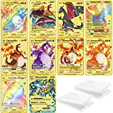 10PCS Pokemon Metal Gold Plated Card - Ultra Rare...