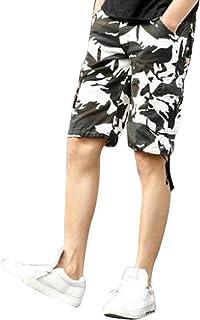 GuDeKe ビーチパンツ メンズ ショートパンツ 迷彩柄 ハーフパンツ カモフラ ミリタリー 5分丈 薄い 短パン ゆったり ストレート 5color 涼しい スポーツ