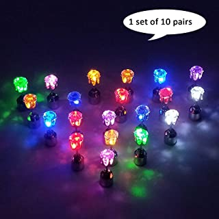 10 Pairs Bright Stylish Fashion LED Earrings Glowing Light Up Earrings Diamond Crown Ear Drop Pendant Stud Stainless Multicolor