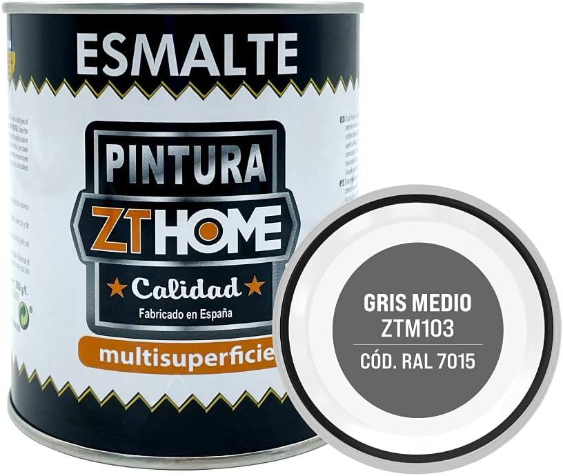 Pintura color Gris Medio Interior / Exterior / Multisuperfie para azulejos baño cocina , madera, puertas, metal, radiadores, muebles, ceramica / Esmalte sintentico en 375 ml / RAL 7015