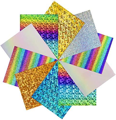 HTVRONT Holographic Plotterfolie Textil - 10 Pack 30.48 cm x 25.4 cm Holographic Flexfolie für T-Shirts & Stoffe