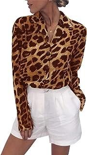 Avanova Women's Casual Leopard Print Tops Blouse V Neck Long Sleeve Button Down Shirt