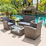 BELLEZE 4pc PE Rattan Wicker Sofa Set Cushion Sectional Yard Outdoor Patio Sofa Chair Couch Furniture High Backrest, Gray