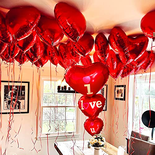 12+1 Red Heart Balloons for Valentines Day - Big Pack of 13, 36 Inch I Love You Balloons I 18 Inch Foil Heart Balloons | Romantic Decorations Special Night, Sweetest Day Decorations, Anniversary