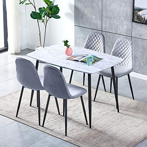 Marble Look Dining Room Set 5-Piece Table and Chair Set, White Wood Dinner Table with Black Legs and 4 Grey Velvet Dining Chairs with Steel Legs, 120cm Rectangular Dining Table Set of 4 Kitchen Chairs