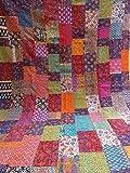 Tribal Asian Textiles Couvre-lit réversible Fait Main en Coton Ajarak Imprimé Indigo