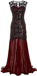 Lazzboy Damen Abendkleid 20er Jahre Kleid Pailletten Maxi Langes Ballkleid
