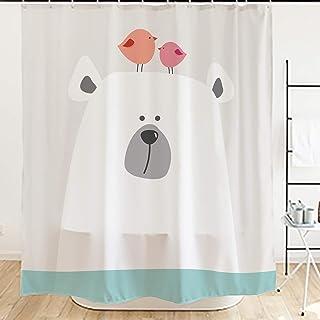 Ofat Home Cartoon Shower Curtain, Cute Polar Bear Curtain for Kids Baby Bathroom, 72x72 inch
