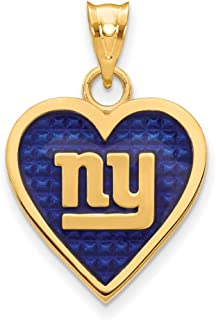 Sterling Silver Gold Plated Chicago Bears Enameled Heart Pendant