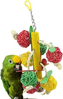 Mokook Parrot Toy Rattan Ball with Bells for Parrot, Parakeet, Cockatiel, Lovebird, Budgie, African Grey, Cockatoo, Conure Scratching Biting and Decoration, 11 Inch Hanging Length