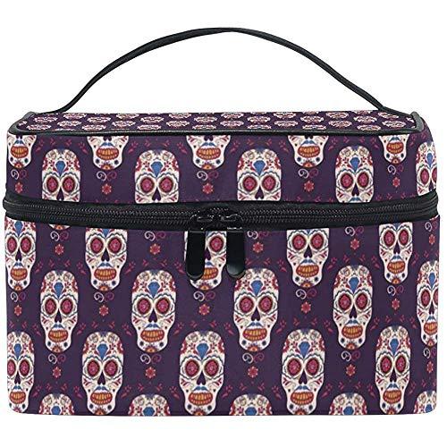 Grand Voyage Maquillage Train Cas Mexique Crâne Rose Transportant Portable Zip Cosmétique Brosse Sac Maquillage Sac Organisateur