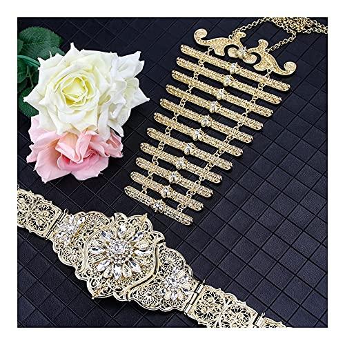 DSJTCH Kaukasus Frauen Gürtel Brustplatte Lätzchen Marokko Schmuck Sets Europa ethnisches Hochzeitskleid Kaftan Gürtel Braut Bijoux Geschenk (Metal Color : 6088U45GOLD)