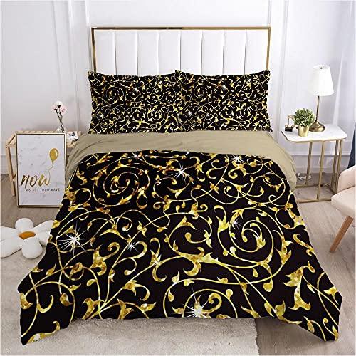 Påslakanset Gyllene konsistensmönsterMikrofibertyg med silkesliknande känsla-innehåller 1 x sängkläder och 2 örngott - Supermjukt med dragkedjestängningsdesign 240x220cm