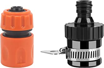 HOKIPO Plastic Universal Tap Adapter and Garden Water Hose Quick Connector Set (Black, Standard Size)