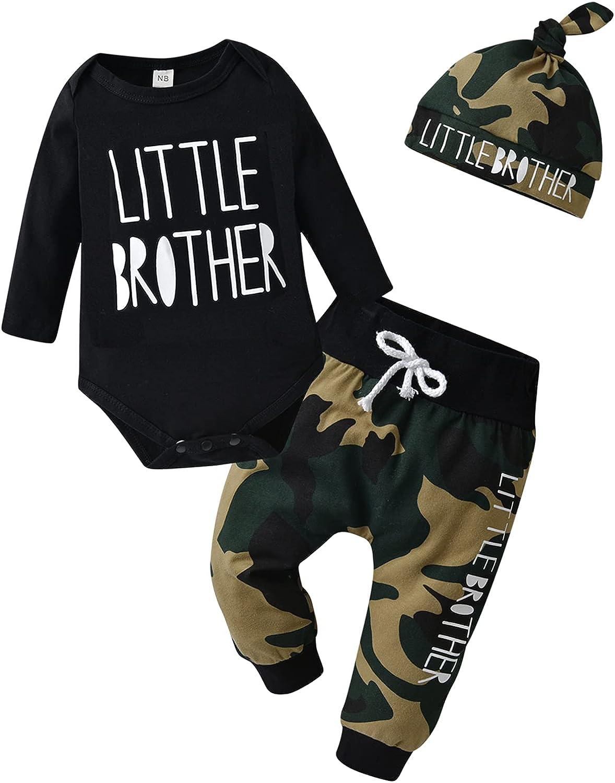 Newborn Infant Baby Boy Clothes Long Sleeve Romper + Pants + Hat 3PCS Outfits Set