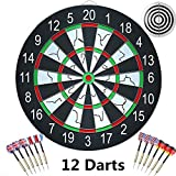 ihoven Dart Board with 12 Brass Darts Set, 18 Inch Professional Double-Sided Flocking Dartboard Kit Tournament Dart Board Game Dartboards Kit for Children and Adults Family Time (Dark Black)