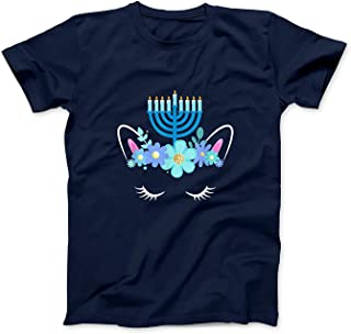 Mint Mama Unicorn Face Hanukkah Funny Gift Girls Kids Happy Hanukkah T-Shirt
