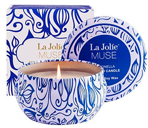 La Jolíe Muse Vela de citronela, vela perfumada de cera de soja, lata de viaje, interior y exterior, 45 horas
