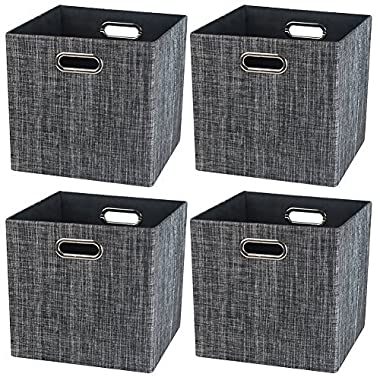 Storage Cube Basket Bin,Foldable Closet Organizer Shelf Cabinet Bookcase Boxes,Thick Fabric Drawer Container (4, Black)