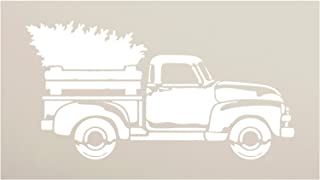 Little Red Truck Christmas Tree Stencil by StudioR12 | for Painting Wood Signs | Vintage Nostalgic Holiday Home Decor | Rustic Old Fashioned Holiday | Choose Size (12