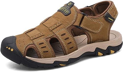 Pessica Sandales De De Sport D'été en Plein Air, Chaussures De Plage Décontractées pour Hommes, Souples Et Confortables, Liaison Velcro,Khaki,EU43UK9  réductions et plus