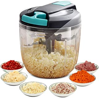 Manual Food Chopper-Hand Pull String Express Mincers,Mini Hand Powered Vegetable Chopper,Kitchen Processor Chop Meat Fruits Vegetables 5 Blades 4 Cup (Gray)