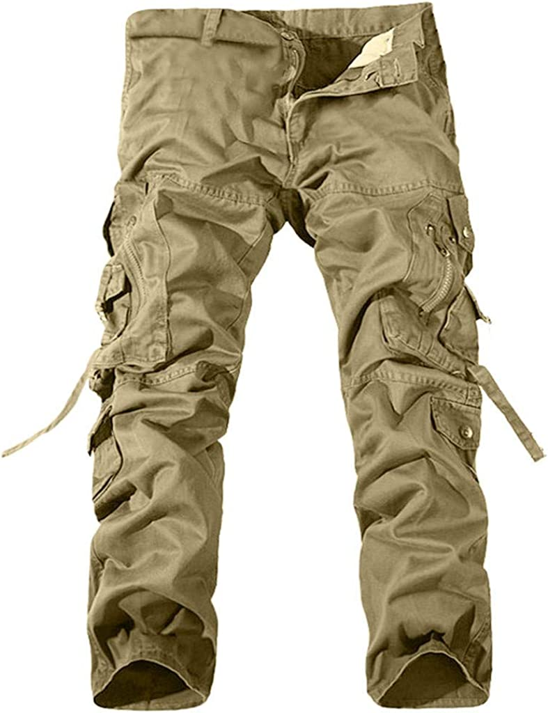 Cargo Pants Men Forthery Mens Casual Pleated Multi Zipper Pockets Tactical Work Camo Army Black Wild Combat Pants