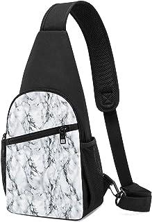 PGTry - Mochila bandolera de mármol blanco y negro sin costuras, ligera para el hombro, mochila para el pecho, bolsa cruza...
