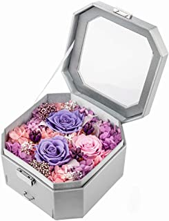 puto Preserved Roses Real Flowers in a Jewelry Box Never Withered Roses That Last 365 Days Gift for Her Valentine's Day Mother's Day Birthday Anniversary Thanksgiving Day Christmas, Silver Box